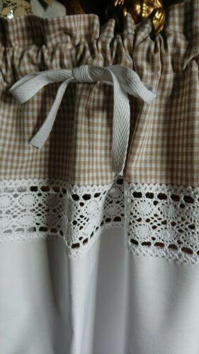 weiß Scheibengardine 100 //35 cm beige,Karo,Landhaus Shabby