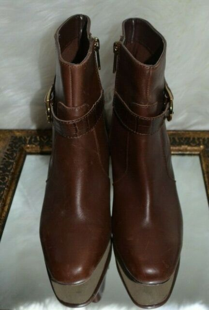 Brown Faux Leather Ankle BOOTS