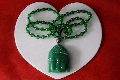 "Handcrafted knot work adjustable green jade /""Happy Buddha/"" pendant necklace"