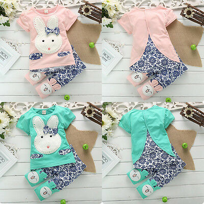 2PC Suit Baby Kids Blue&White Porcelain Top+Short Pants Set Lovely Rabbit 1-4Y F