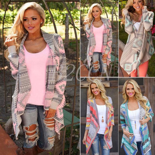 Women Boho Irregular Long Sleeve Knitted Cardigan Casual Loose Poncho Coat Tops