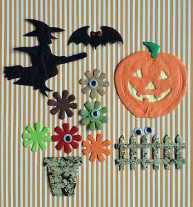 81-items-Lot-Halloween-Sampler-assortment-witch-pumpkin-bats-fences-scrapbook