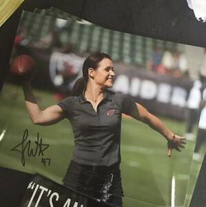 Jen-Welter-Autographed-Arizona-Cardinals-8x10-Photo-Gameday-Hologram