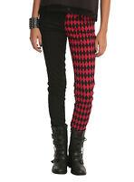 Royal Bones Tripp Black & Red Diamond Split Leg Skinny Pants Jeans Harley Quinn