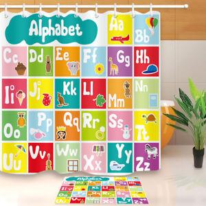 Image Is Loading Waterproof Fabric Kids Cartoon Animals Alphabet Shower Curtain