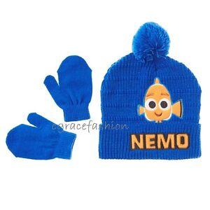 e7901609971 Disney Finding Dory Nemo Boys Blue Earflap Pom Beanie Winter Hat Cap ...