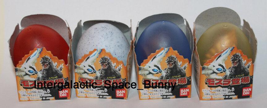 1998 Bandai Japan Godzilla Huevo Miniatura Figura Set Mechagodzilla y Ghidorah
