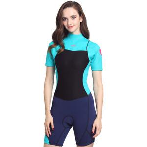 0752ba685f Image is loading Women-2MM-Neoprene-Short-Sleeve-One-Piece-Swimsuit-