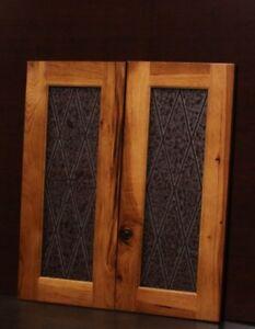 Set Of 2 Kraftmaid Kitchen Praline Hickory Gl Doors For Wall