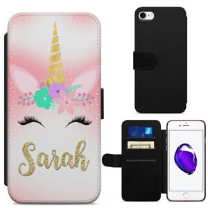 Personalised Unicorn Face Leather Flip Wallet Phone Case Cover Iphone Samsung Ebay