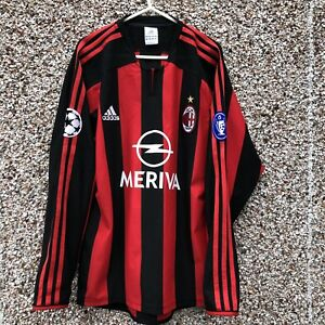 new styles a98d0 4a291 Details about AC MILAN Champions League LONG SLEEVE LS Football Shirt  ADIDAS 2003 2004 adult S