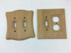 Details About Set Of 2 Double Stain Wooden Electric Outlet And Light Switch Covers