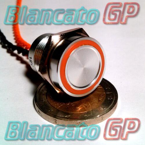 PULSANTE PIEZOELETTRICO 16mm LED ARANCIO 12V auto moto piezo switch interruttore