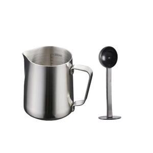 350ml Stainless Steel Coffee Frothing Milk Tea Latte Scale Jug with Scoop