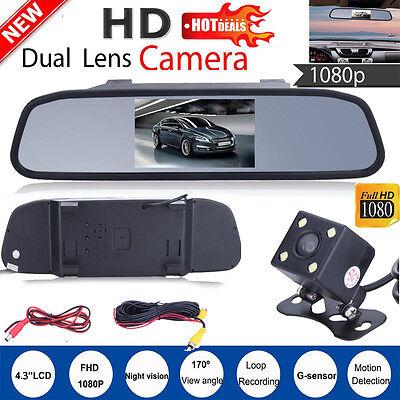 4.3'' LCD HD Car Rear View Mirror Monitor LED Night Vision Reverse Backup Camera