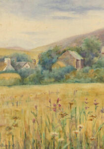 H-Bottomley-Early-20th-Century-Watercolour-Yellow-Fields-with-Cottages