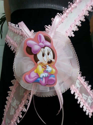 Baby Shower Minnie Mouse Mom To Be It/'s a Girl Sash Pink Ribbon and Corsage