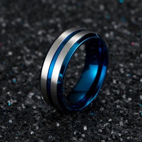 8 mm Argent Titane Brossé Acier Bande Pour Hommes Noir Bleu Plating Ring Taille 7-12