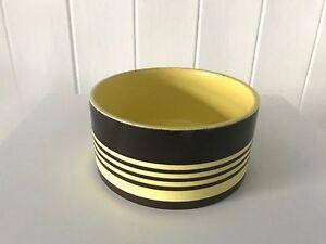 Very-Rare-Vintage-Retro-1970s-Hornsea-Brown-amp-Yellow-Stripe-Soup-Sugar-Bowl