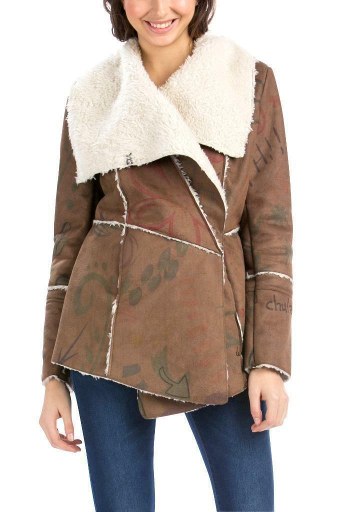 Desigual Anna Coat 38-46 10-18 RRP139 Faux Camel Sheepskin Shearling Warm Snug