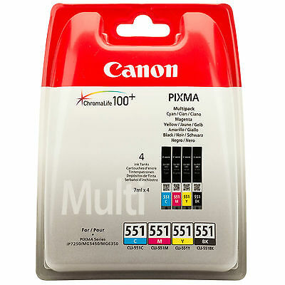 GENUINE OEM CANON PIXMA CLI-551 BK/C/M/Y MULTIPACK OF 4 PRINTER INK CARTRIDGES