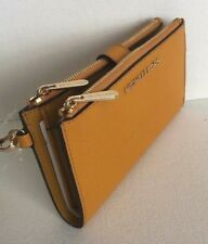 83a2f61411ae New Michael Kors Jet Set Travel Double Zip Wristlet Leather wallet Marigold