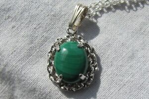 Vintage 925 Sterling silver Green Malachite Pendant Necklace!!!!!