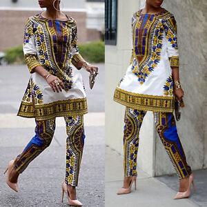 femme africaine imprimé DASHIKI haut soirée mini robe de cocktail Pantalon pour