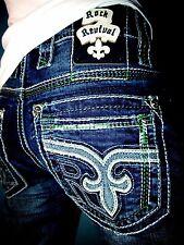 New NWT Men's Rock Revival Denim Jeans Raynon Straight Leg 32x34