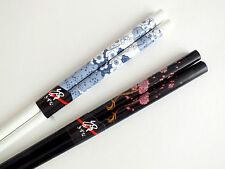 2 CHINESE CHERRY BLOSSOM BLACK WHITE CHOPSTICKS JAPANESE HAIR STICK FANCY PARTY