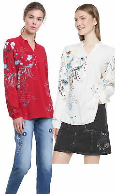 Desigual Words Blouse Writing /& Mismatched Buttons XS-XXL UK 8-18 RRP£74
