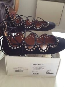 Isabel-Marant-Sandales-daim-Leoni-Black-Lacets-39-neuves-introuvables-en-magasin