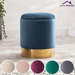 Your-Home-Velvet-Fabric-Ottoman-Foot-Stool-Furniture-Seat-Pouffe-Storage-Box-NEW
