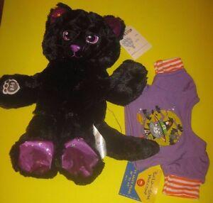 New Build-A-Bear NIGHT SKY BLACK KITTY PLUSH Cat with Purple Halloween Shirt