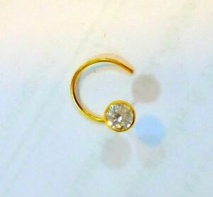 10k Yellow Gold Cubic Zirconia Cz Solitaire Belly Button Ring Body Jewelry 014 Strong Packing Body Jewelry