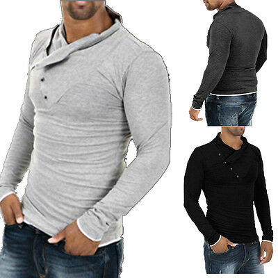 Mens Stylish Tops Slim Fit Casual Fashion T-shirts Polo Shirt Long Sleeve Tee