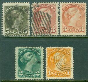 EDW1949SELL : CANADA 1870-89 Scott #35a, 36d, 37c, 37a, 38i F-VF, Used. Cat $50.