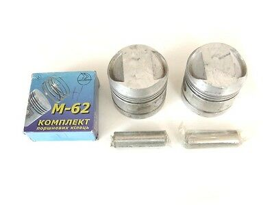 SET FACTORY DNEPR MT 650CC PISTONS WITH RINGS AND GUDGEON PINS(KM3-8.15501237)