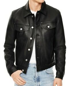 Mens-Slim-fit-Black-Trucker-Genuine-Lambskin-Leather-Jacket