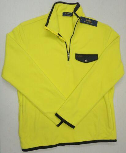 NWT $145 Ralph Lauren 1//4 Zip Fleece Pullover Shirt Mens Neon Yellow Black NEW