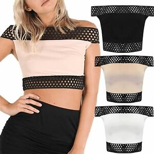 Womens-Ladies-Off-The-Shoulder-Contrast-Lace-Detail-Sleeveless-Mini-Crop-Top