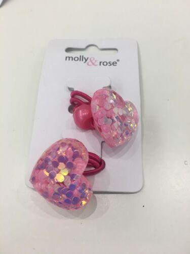 Girls Glitter Heart Flower Motif Bobble Elastics Hairbobbles Hair Accessories
