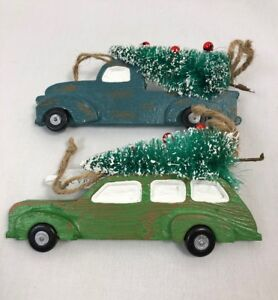 Car Christmas Ornaments.Details About Set Of 2 Vintage Car Christmas Ornaments New In Box