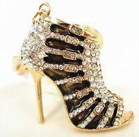 Black Shoe High Heel Cute Charm Pendant Crystal Purse Bag Keyring Key Chain Gift
