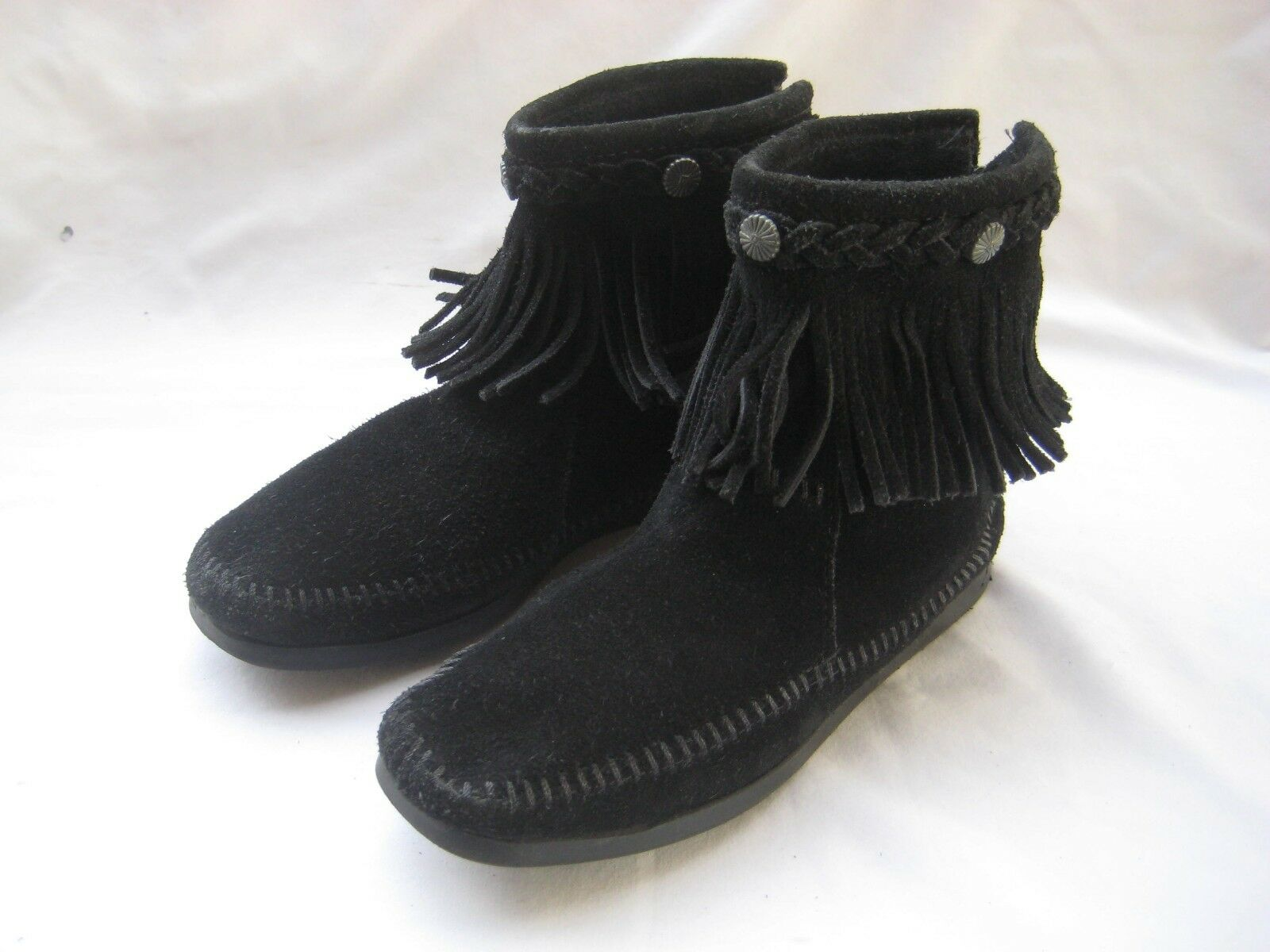 WOMENS MINNETONKA BOOTS FRINGE SHORT ANKLE BLACK SUEDE SIZE 6