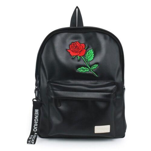 Rose Flower PU Leather Backpack Black Women Girls Vintage Black Teen School Bag