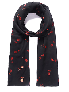 beautiful Black Shiny Scarf With Red Roses gift present Scarves ,Wrap Valentine