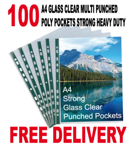 100 A4 GLASS CLEAR MULTI PUNCHED POLY POCKETS STRONG HEAVY DUTY 50 MICRON