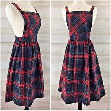 Vintage 70s red wool plaid pinafore jumper dress schoolgirl secretary S M