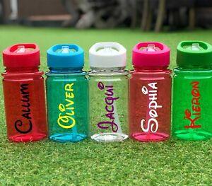 Personalised Custom Disney Name Kids Children Water Bottle Flip Straw Girls Boys